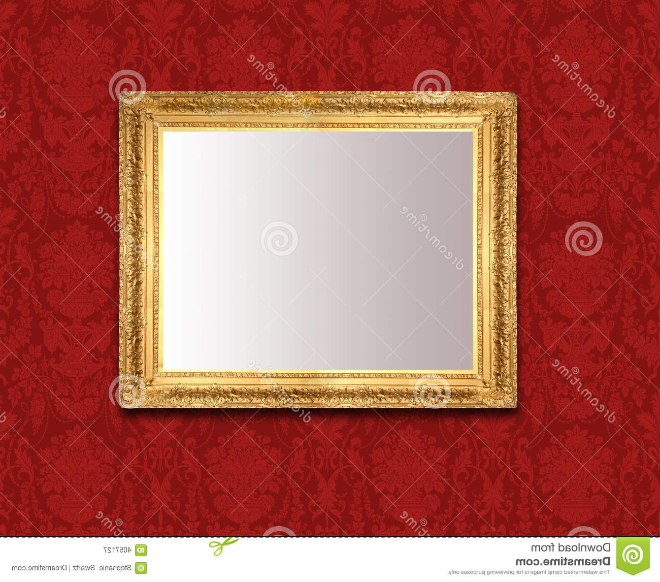 Red Wall Mirrors With Regard To Favorite Mirror On Red Wall Stock Image (View 15 of 20)