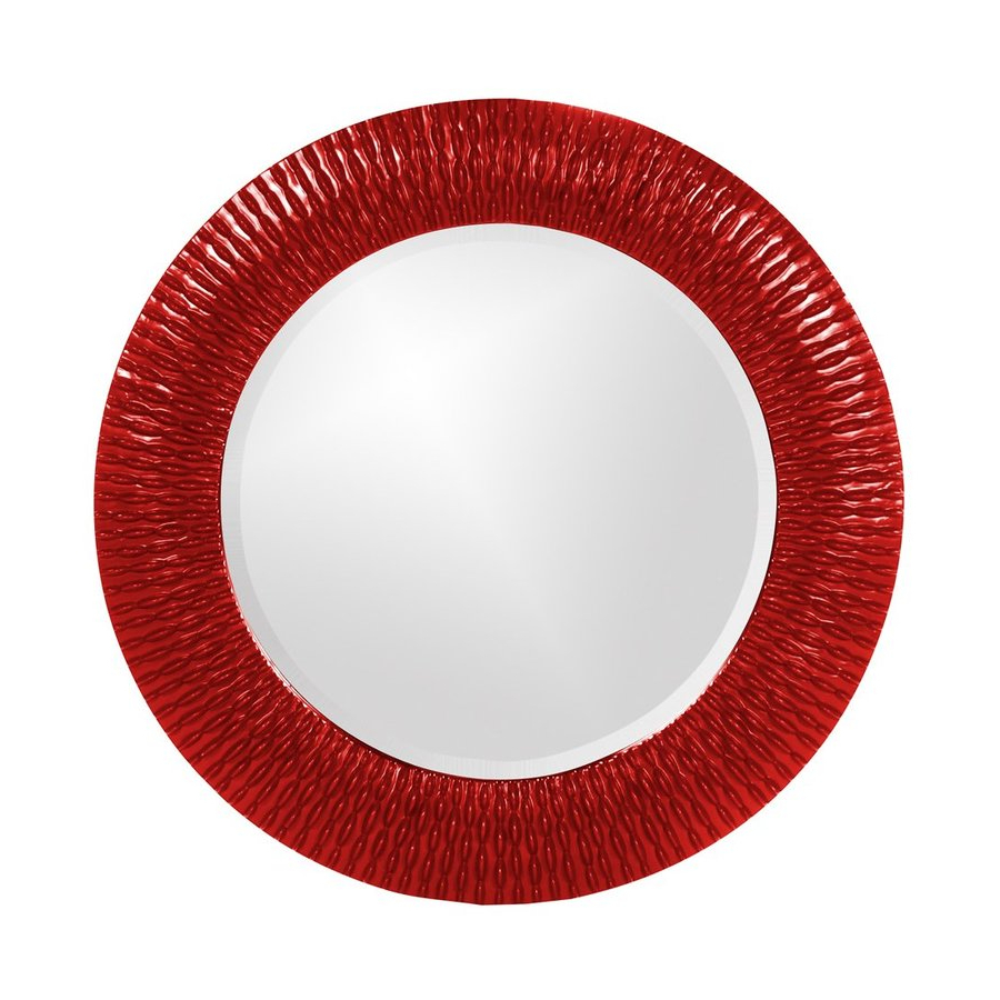 Red Wall Mirrors With Well Known Tyler Dillon Bergman 32 In L X 32 In W Red Framed Round Wall (View 16 of 20)