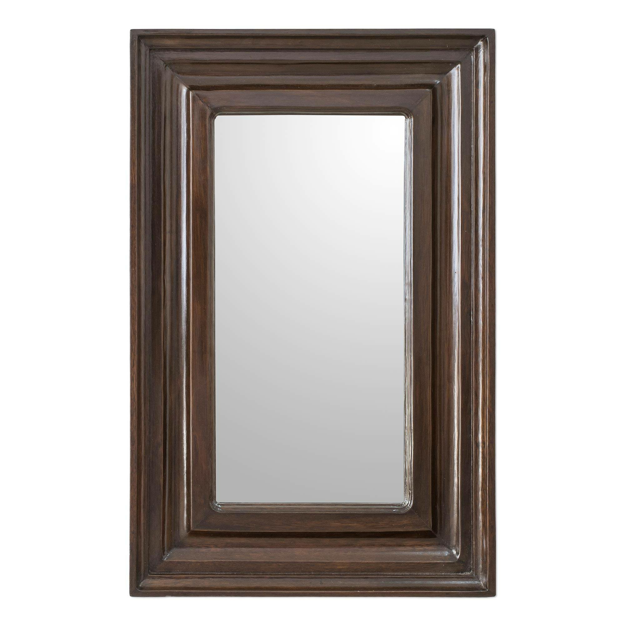 Reflection Wall Mirrors In Favorite Wagar Simple Reflection Wood Rustic Wall Mirror (View 13 of 20)