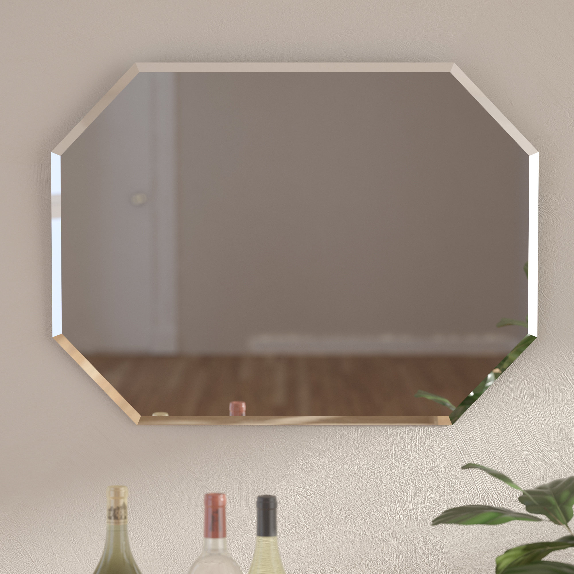 Reign Frameless Oval Scalloped Beveled Wall Mirrors For Fashionable Cannonball Creek Frameless Beveled Wall Mirror (View 16 of 20)