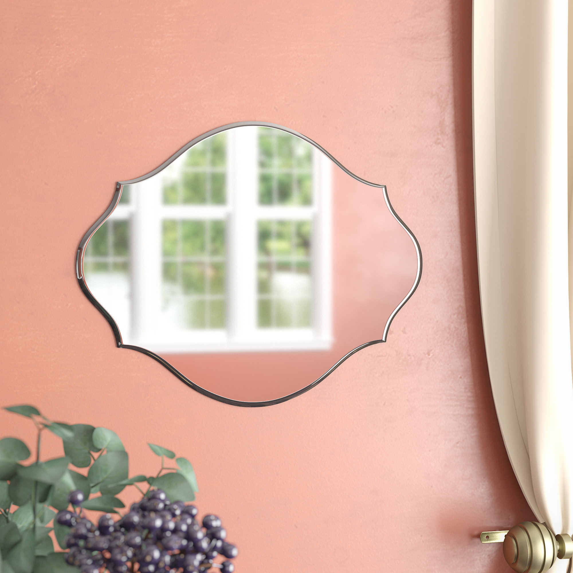 Reign Frameless Oval Scalloped Beveled Wall Mirrors In Popular Dsov Reign Frameless Oval Scalloped Beveled Wall Mirror & Reviews (View 17 of 20)