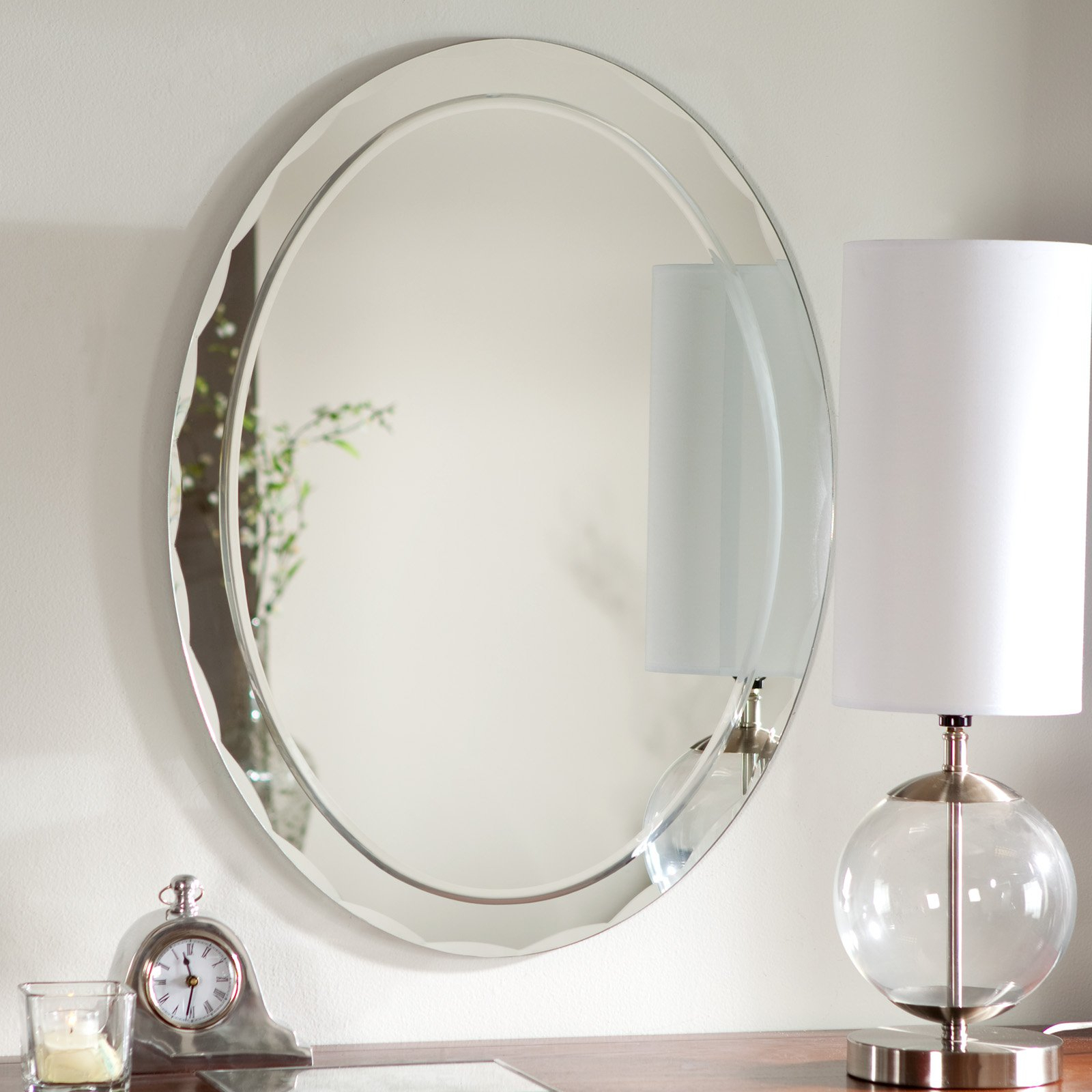 Remarkable Decorative Beveled Wall Mirrors Frame Large Three With Trendy Frameless Full Length Wall Mirrors (View 16 of 20)
