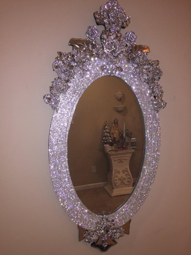Rhinestone Wall Mirrors Pertaining To Preferred Rhinestone Wall Mirror Custom (View 5 of 20)