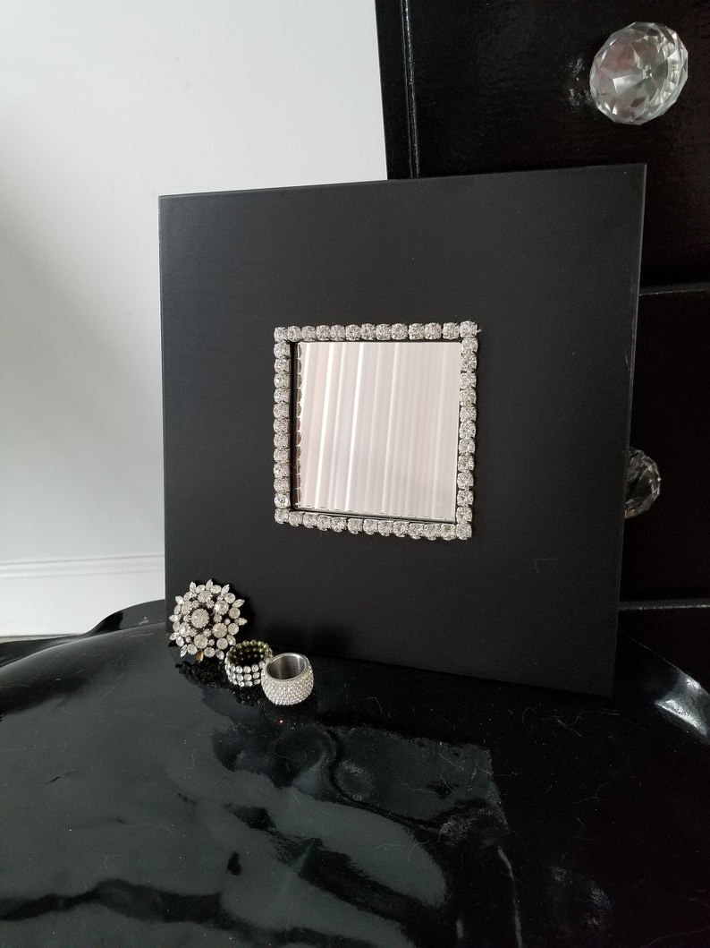 Rhinestone Wall Mirrors With Well Known Black Bling Rhinestone Glam Wall Mirror (Gallery 14 of 20)