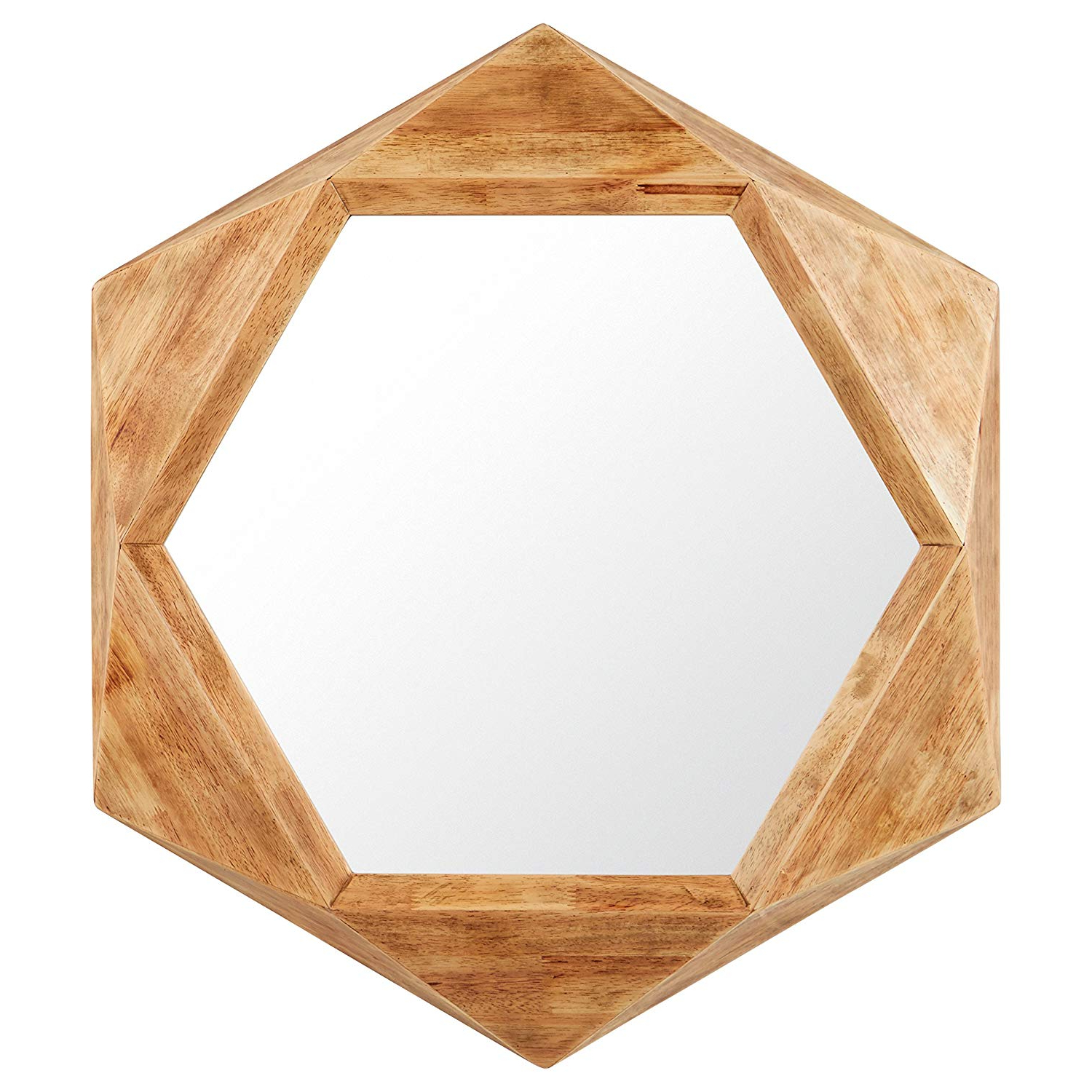 Rivet Modern Hexagon Wood Frame Hanging Wall Mirror, 30 Inch Height, Natural Throughout Latest Hexagon Wall Mirrors (Gallery 5 of 20)