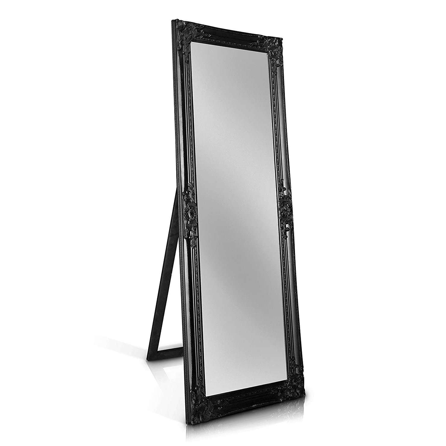 Rocococasa Chic – Shabby Chic Wall Mirror – 130X45 Cm  Solid Wood –  Large French Vintage Style Full Length Standing Mirror – Antique Black For Favorite Shabby Chic Wall Mirrors (View 13 of 20)