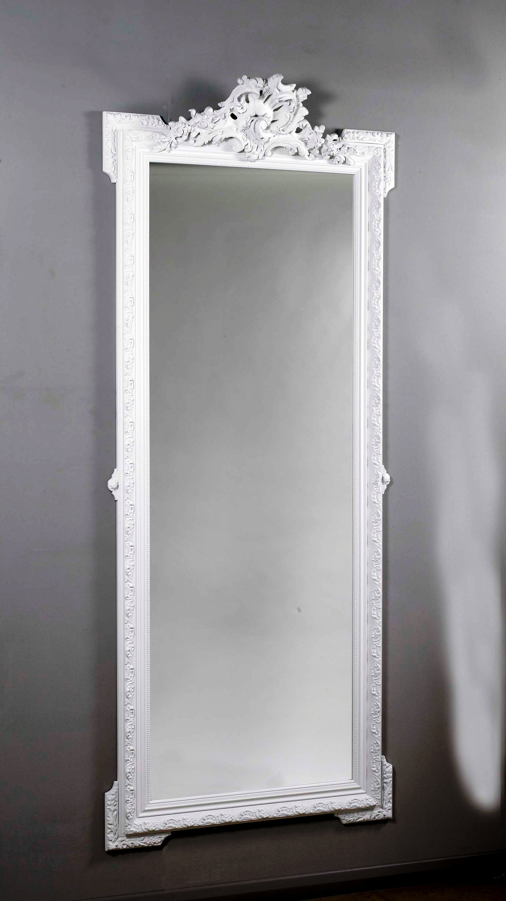 Romantica Grande White Wall Mirror Canciones Romanticas En Espanol Intended For Most Recent Decorative Full Length Wall Mirrors (View 15 of 20)
