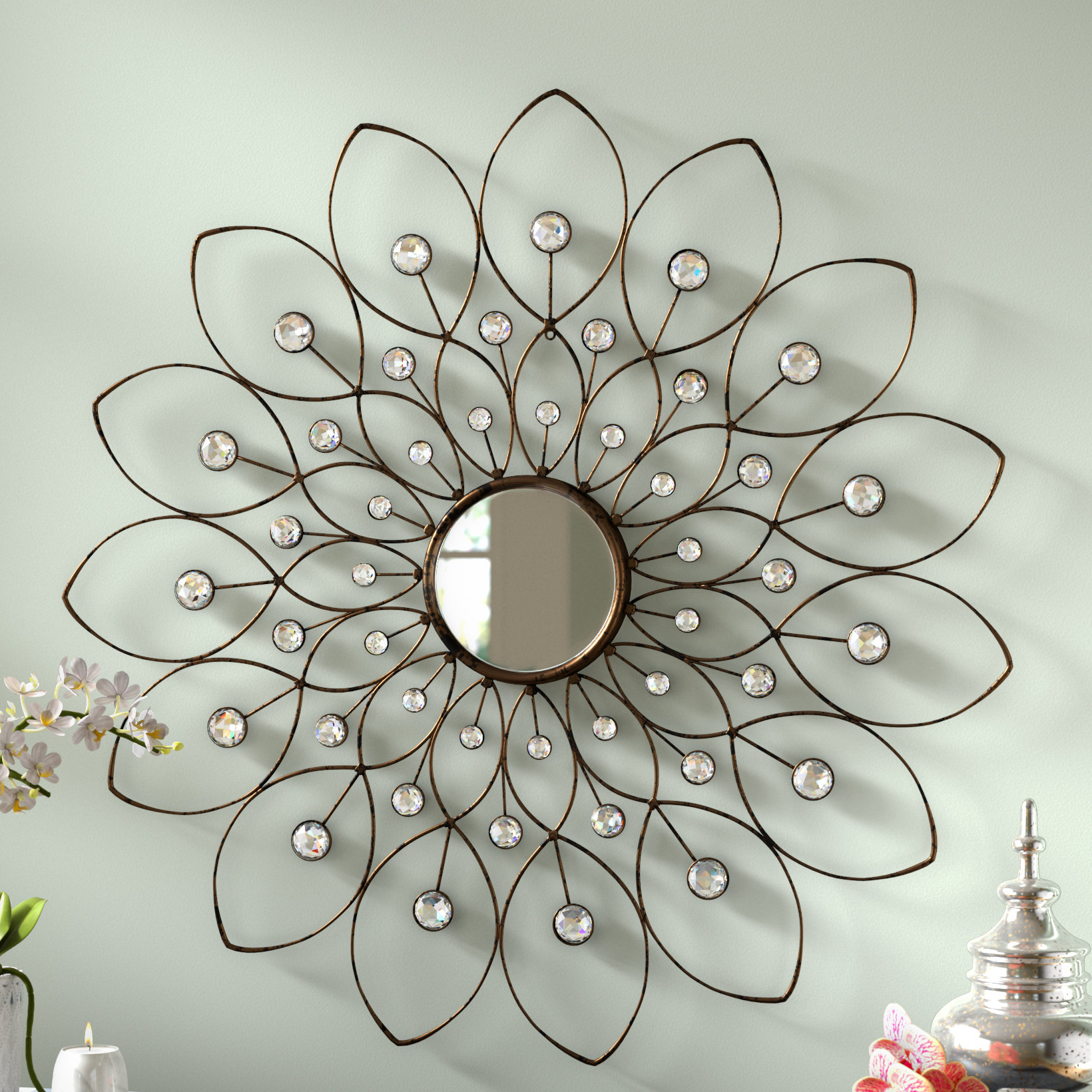 Rosdorf Park Bruckdale Decorative Flower Accent Mirror Throughout Best And Newest Carstens Sunburst Leaves Wall Mirrors (Gallery 7 of 20)