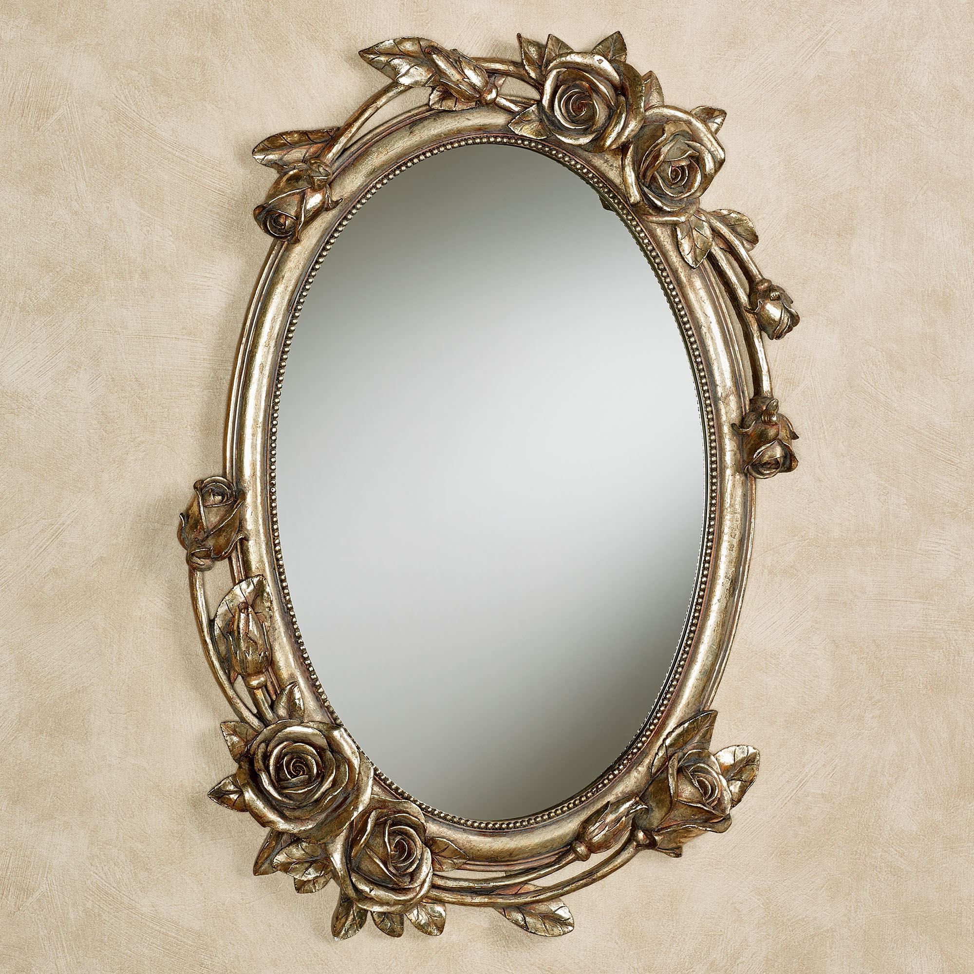 Rose Melody Venetian Gold Floral Oval Wall Mirror In 2019 With 2019 Ikea Oval Wall Mirrors (Gallery 18 of 20)