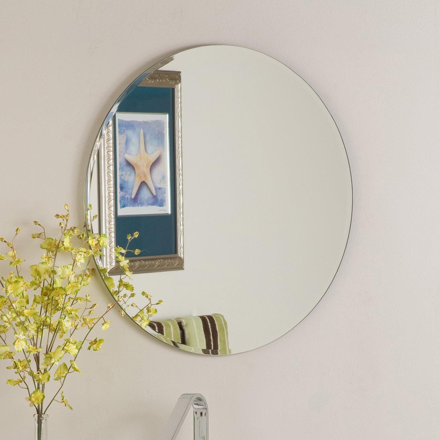 Round Beveled Wall Mirrors Regarding Most Recent Decor Wonderland Frameless Round Beveled Mirror (View 4 of 20)