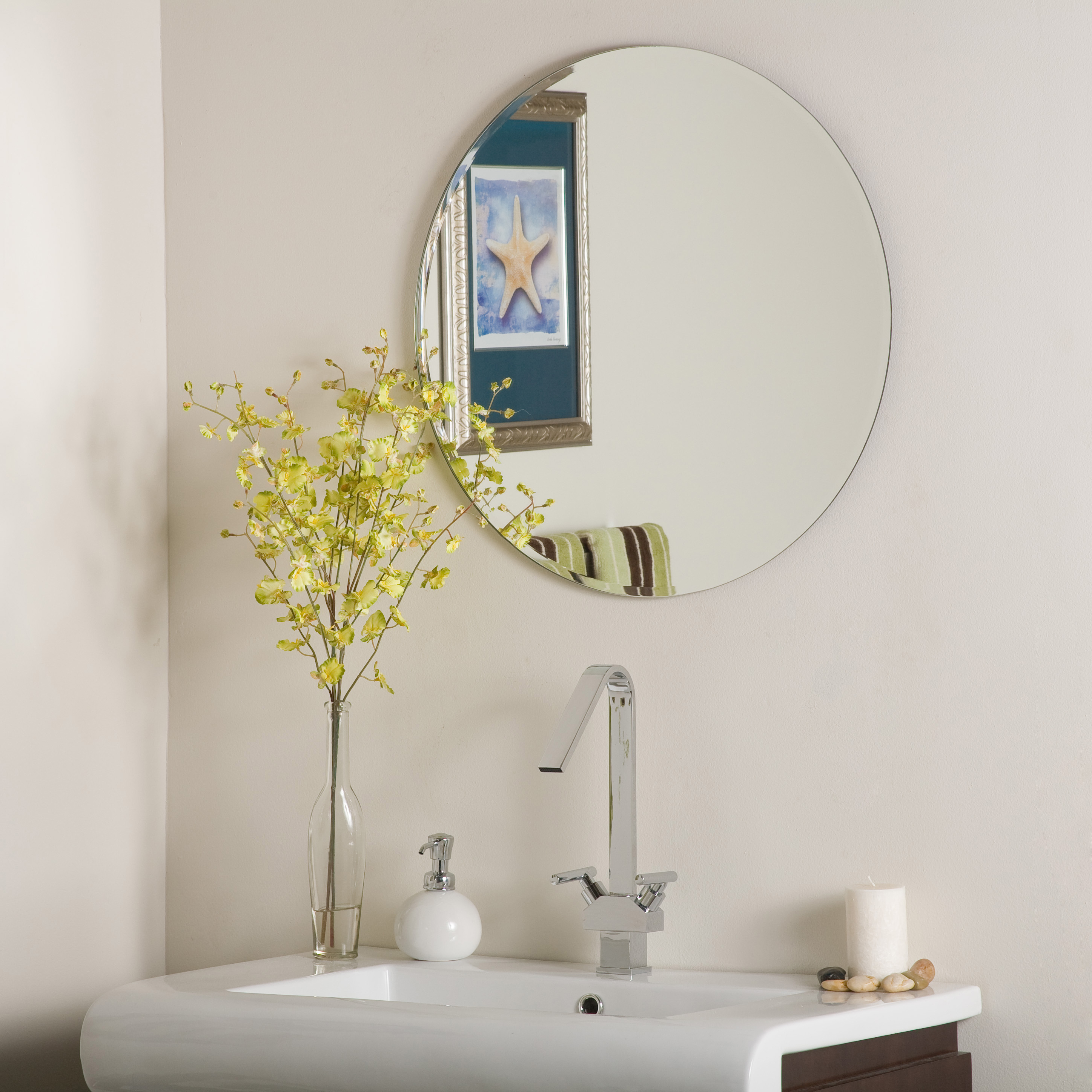 Round Beveled Wall Mirrors With Newest Décor Wonderland Frameless Round Beveled Mirror 23.6 Inx23.6 In (Gallery 11 of 20)