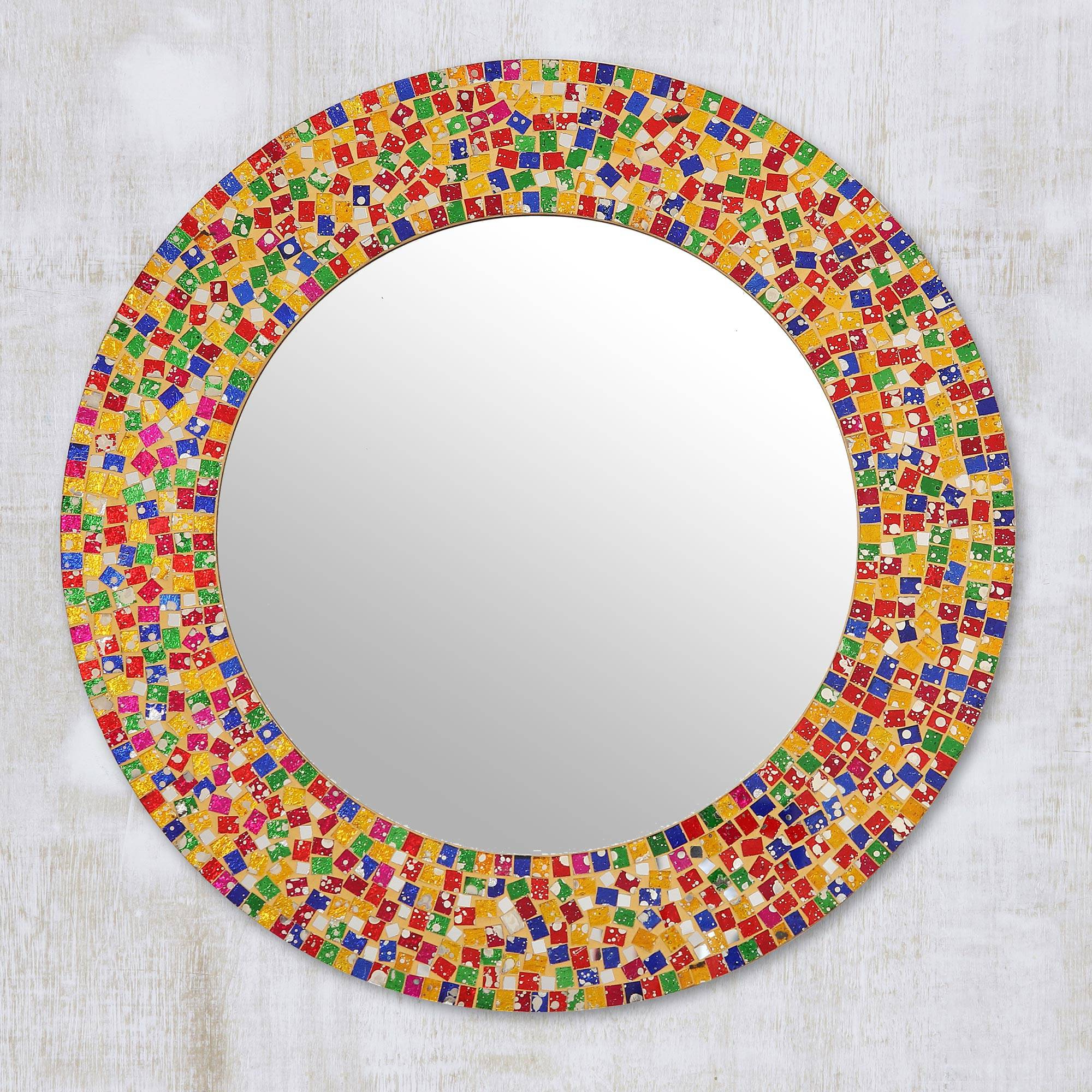 Round Colorful Glass Mosaic Wall Mirror From India, 'colorful Dazzle' With Well Known Round Mosaic Wall Mirrors (View 13 of 20)