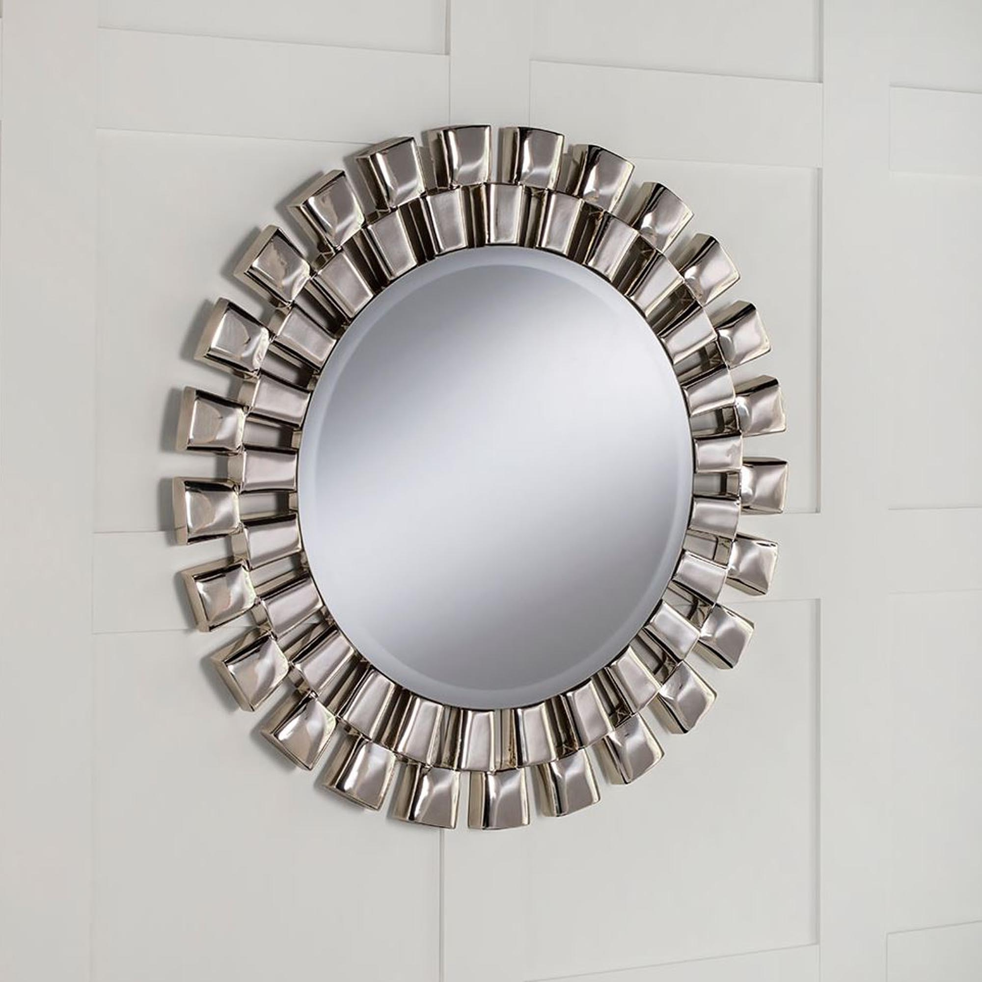 Round Contemporary Chrome Silver Wall Mirror Intended For Widely Used Chrome Wall Mirrors (Gallery 2 of 20)
