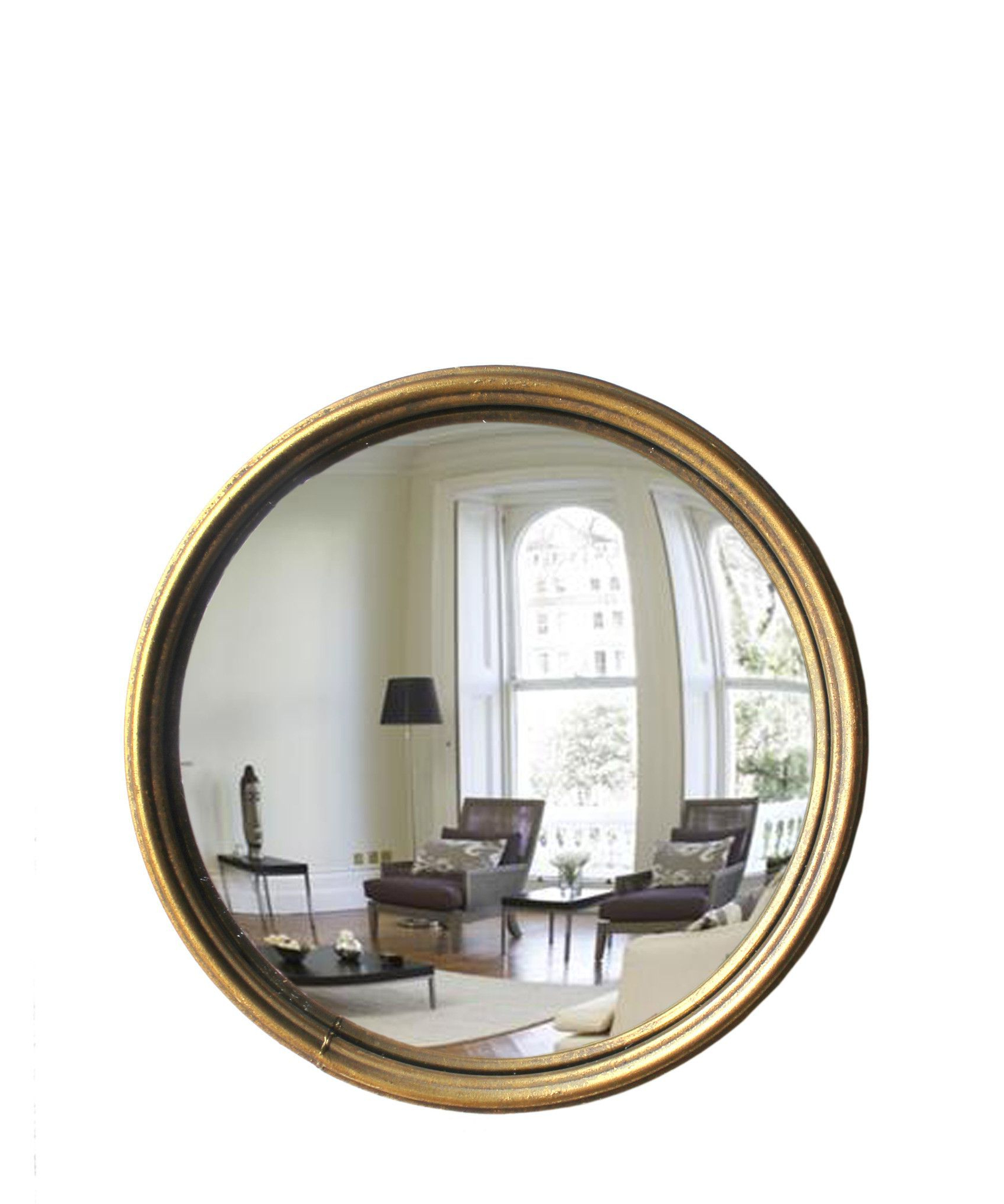 Round Convex Wall Mirrors With Recent Round Convex Mirror, Antique Gold – Skinny Brass Frame (View 17 of 20)