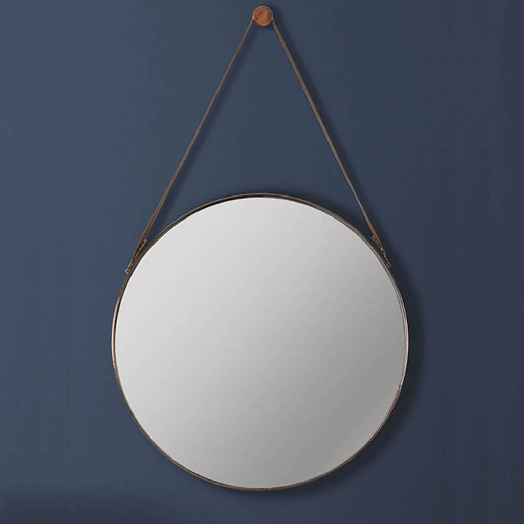 Round Copper And Leather Hanging Wall Mirror Regarding Widely Used Hang Wall Mirrors (Gallery 2 of 20)