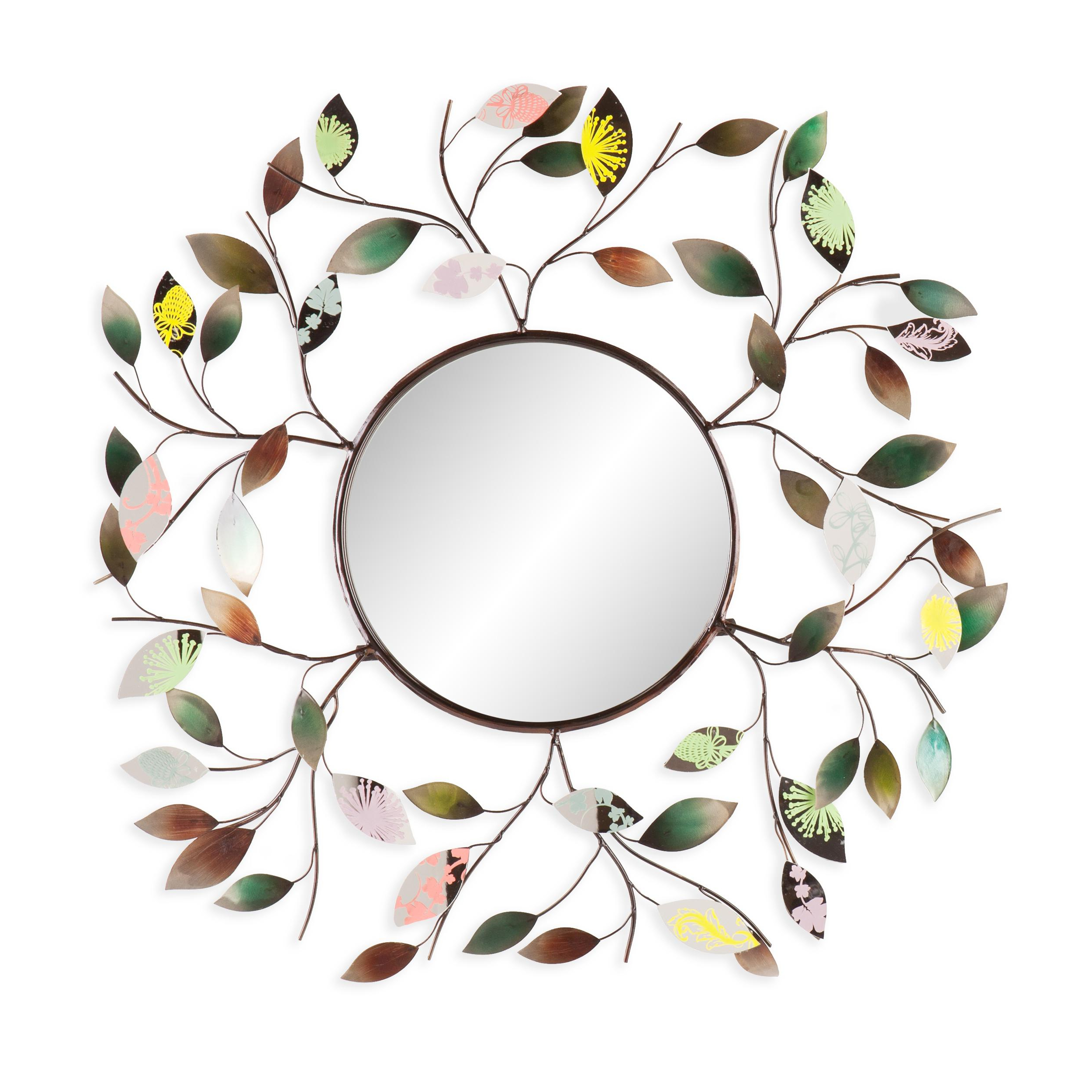 Round Eclectic Accent Mirrors Inside Most Up To Date Decorative Metallic Leaf Wall Mirror – 3d Leaf Hanging Art – Multicolored Eclectic Style (View 18 of 20)