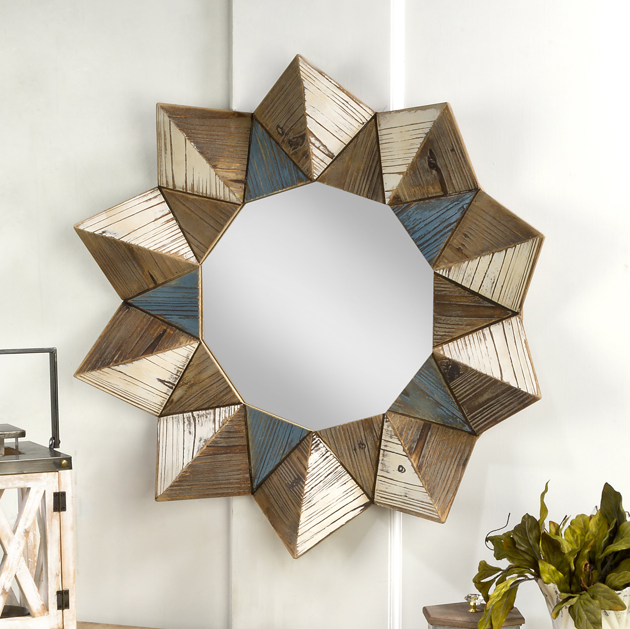Round Eclectic Accent Mirrors With Regard To Well Liked Ernest Geometric Eclectic Wall Accent Mirror (View 10 of 20)