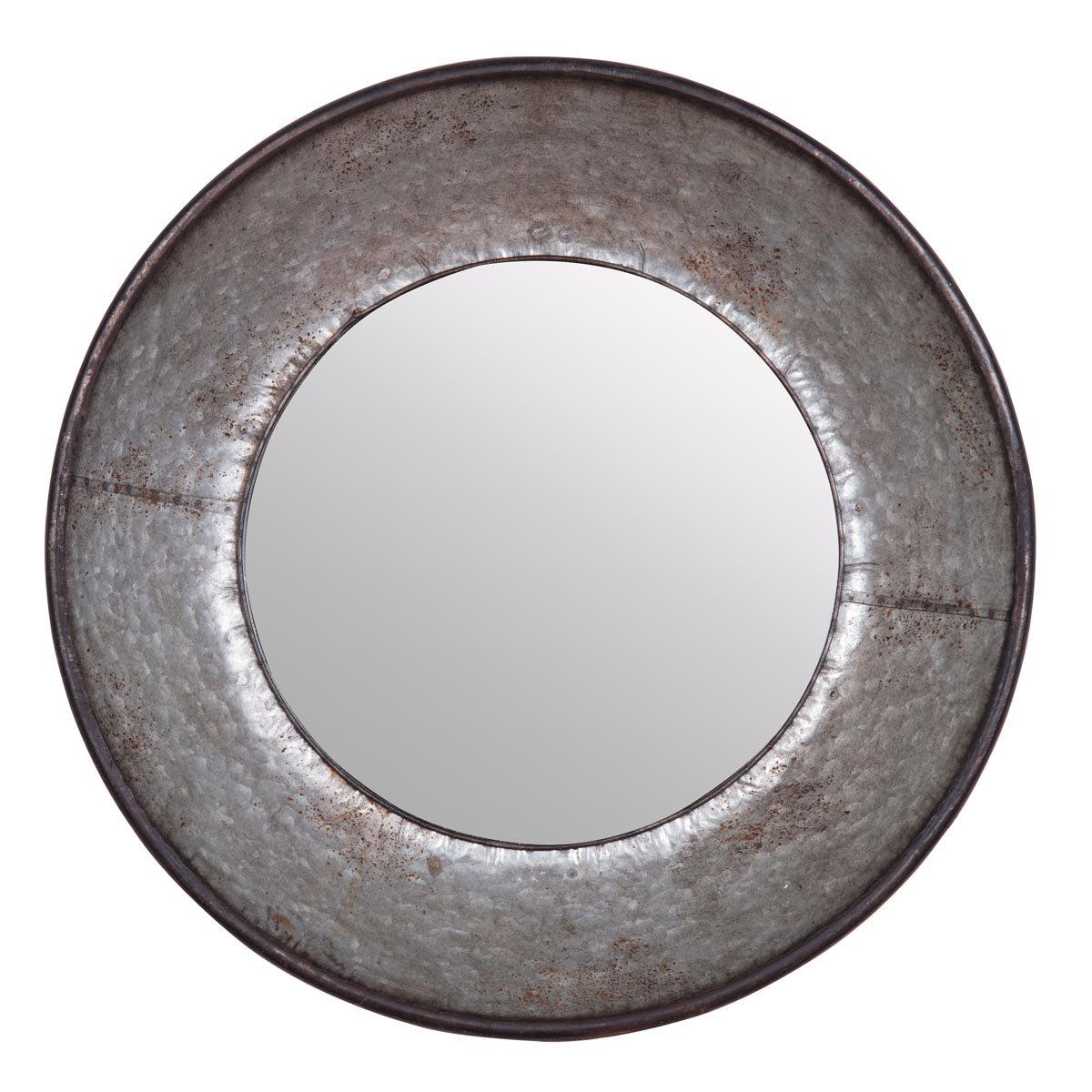 Round Galvanized Metallic Wall Mirrors For Favorite Galvanized Round Accent Wall Mirror (View 5 of 20)