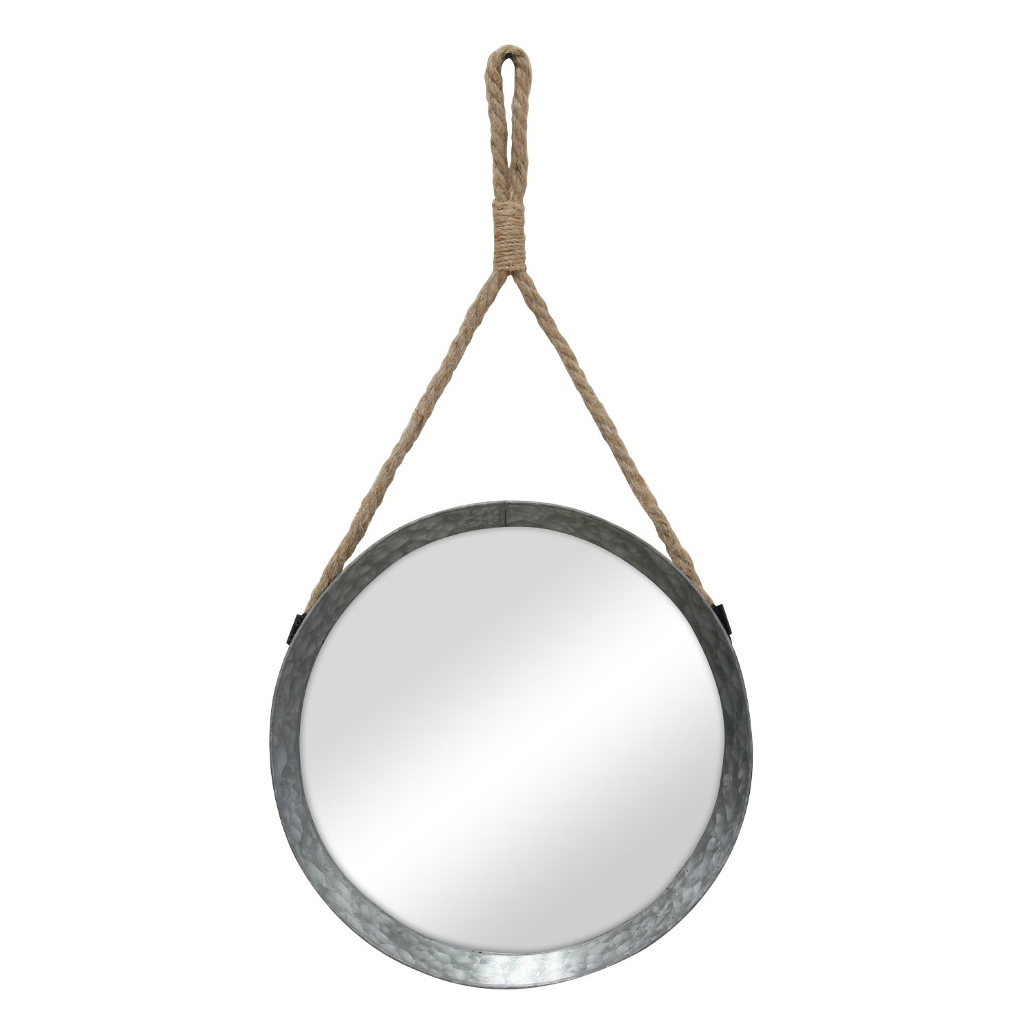Round Galvanized Metallic Wall Mirrors Inside 2019 Stonebriar Rustic Round Galvanized Metal Mirror With Rope Hanging Loop ; Farmhouse Home Decor ; For Bathroom, Bedroom, And Living Room (View 15 of 20)
