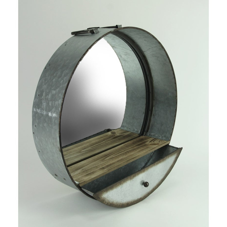 Round Galvanized Metallic Wall Mirrors Inside Preferred Rustic Galvanized Metal Tub Frame Round Wall Mirror With Drawer – Gray – 20.5 X (View 20 of 20)