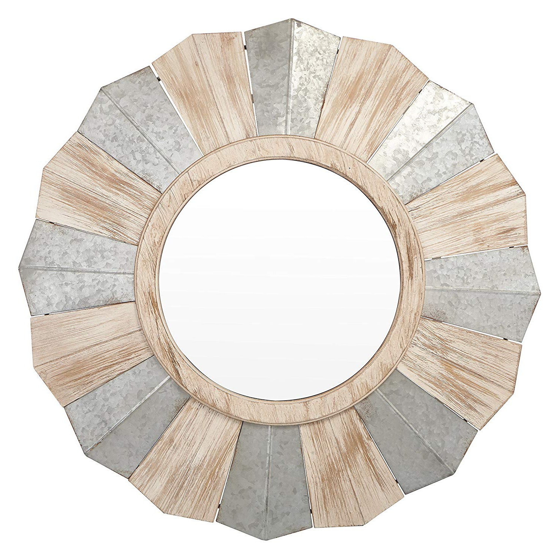 Round Galvanized Metallic Wall Mirrors Regarding Most Up To Date Amazon: Galvanized Metal And Wood Round Sunburst Style Wall (Gallery 8 of 20)