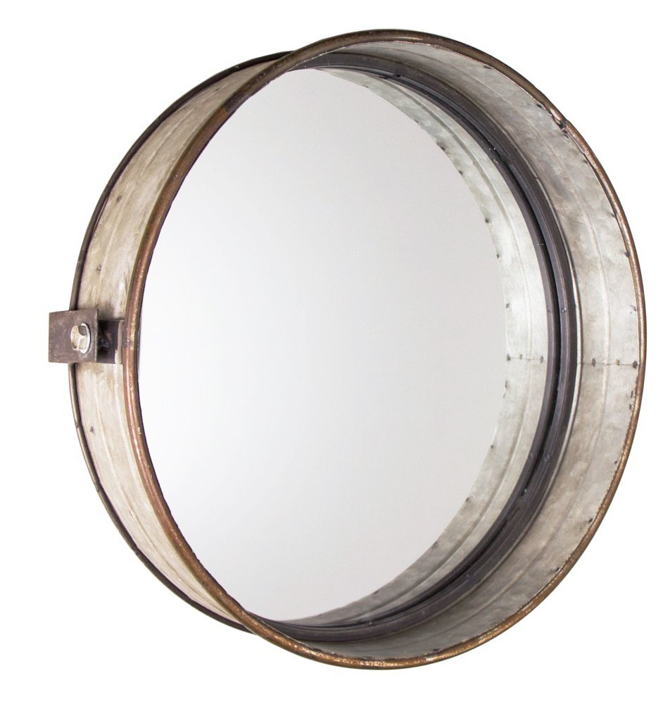 "Round Galvanized Metallic Wall Mirrors Throughout Popular Park Hill Rustic Galvanized Metal Drum Mirror, 16"" (View 11 of 20)"