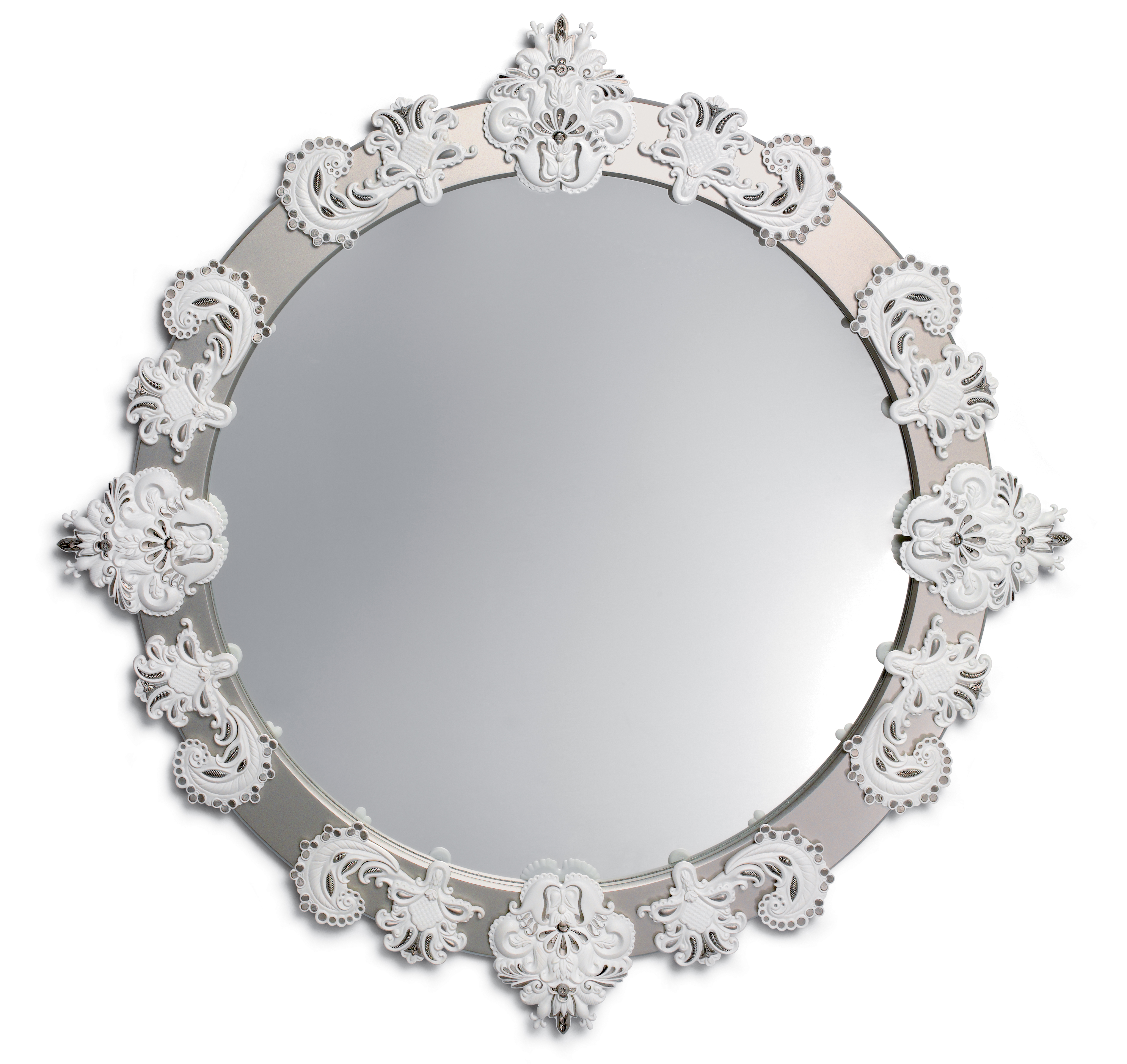Round Large Wall Mirror. Silver Lustre And White (View 15 of 20)