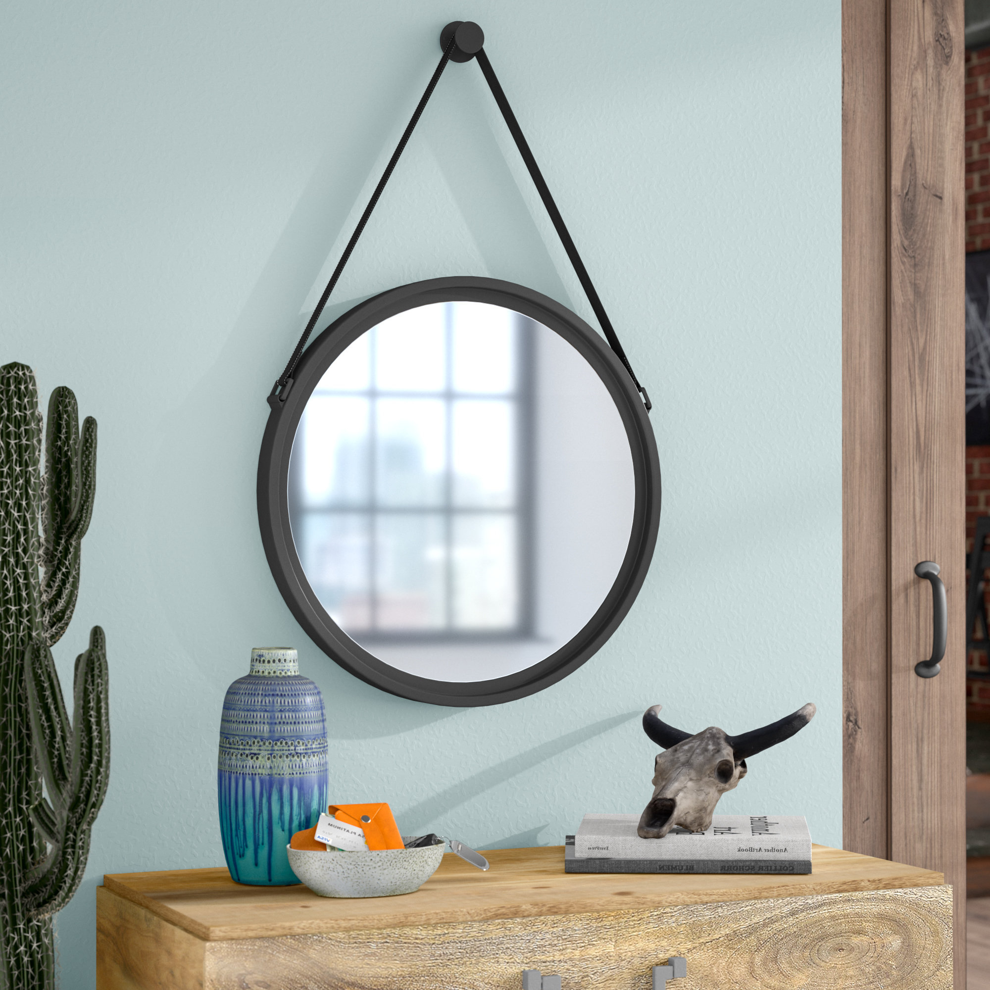Round Metal Wall Mirror Pertaining To Most Recently Released Leather Wall Mirrors (Gallery 16 of 20)