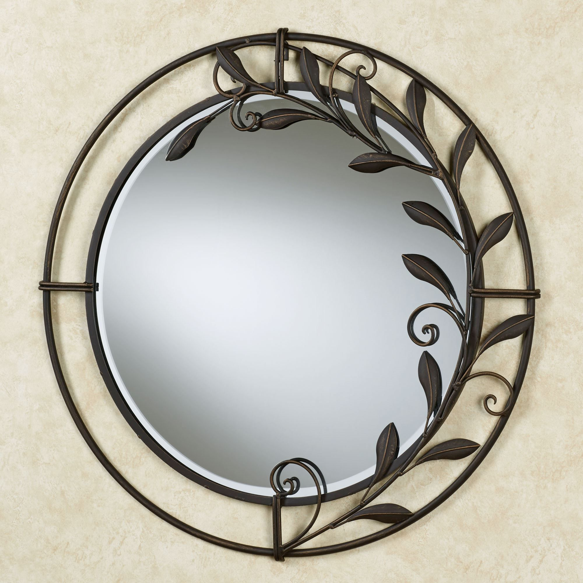 Round Metal Wall Mirrors Pertaining To Trendy Galeazzo Antique Bronze Round Metal Wall Mirror (View 9 of 20)