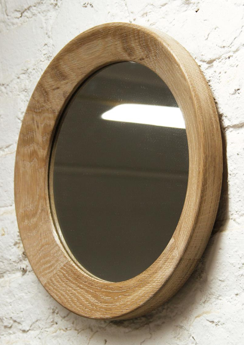 Round Mirror Round Decorative Wall Mirror Oak Wood Mirror Frame Wall Mirror  Wall Decor Round Framed Wall Mount Mirror In Famous Oak Wall Mirrors (View 15 of 20)