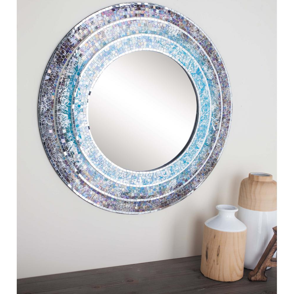 Round Mosaic Wall Mirrors Intended For Most Popular Litton Lane 30 In. Modern Turquoise Mosaic Framed Wall (Gallery 8 of 20)