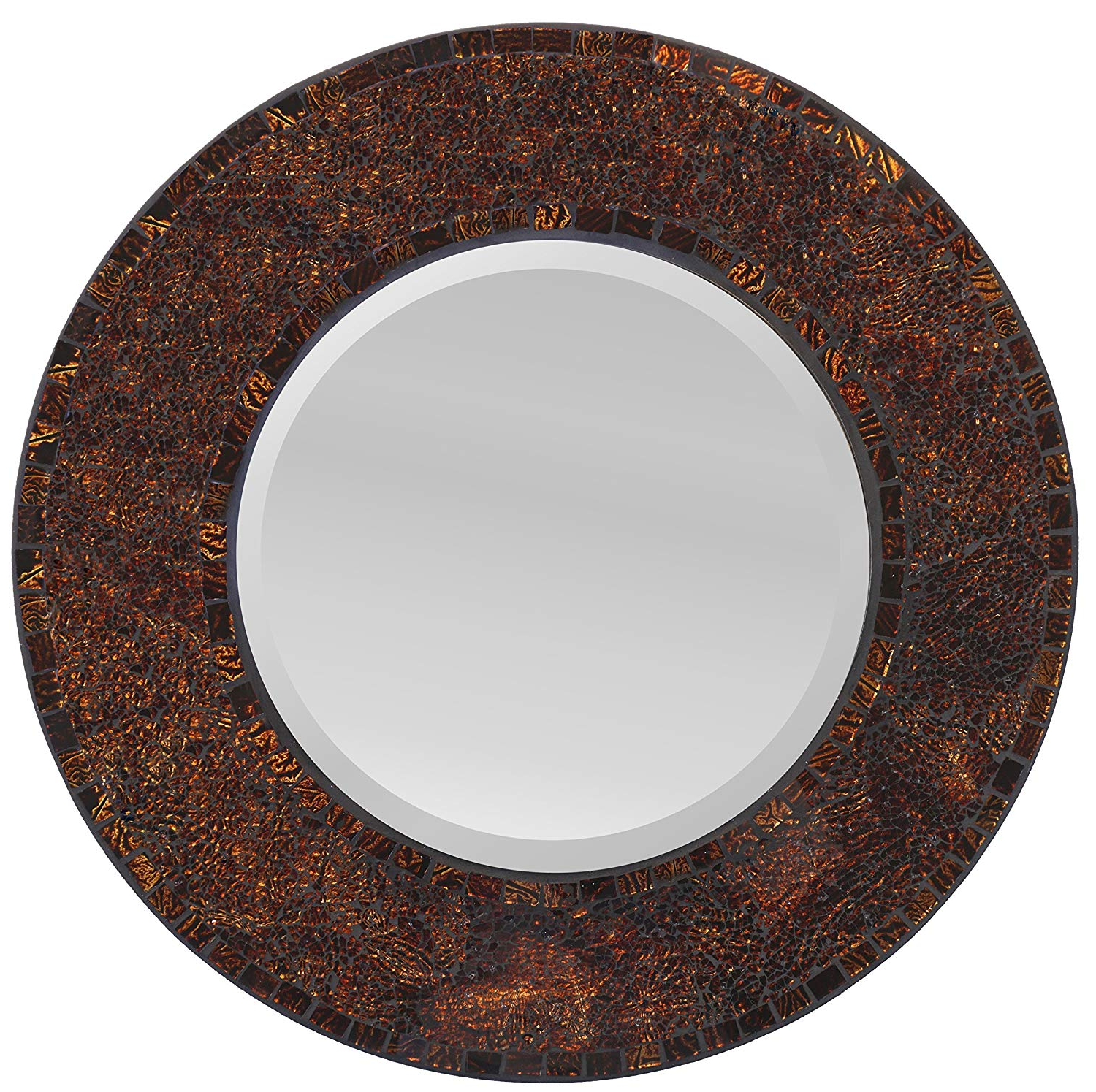 Round Mosaic Wall Mirrors Regarding Most Current Lulu Decor, Baltic Crush Amber Mosaic Wall Mirror, Round Decorative Mirror For Living Room & Office Space (lp71m) (View 7 of 20)