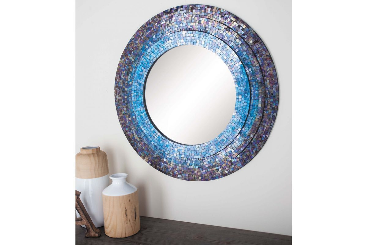 Round Mosaic Wall Mirrors Regarding Most Recently Released Modern Reflections Round Mosaic Wall Mirror In Multicolor (View 4 of 20)