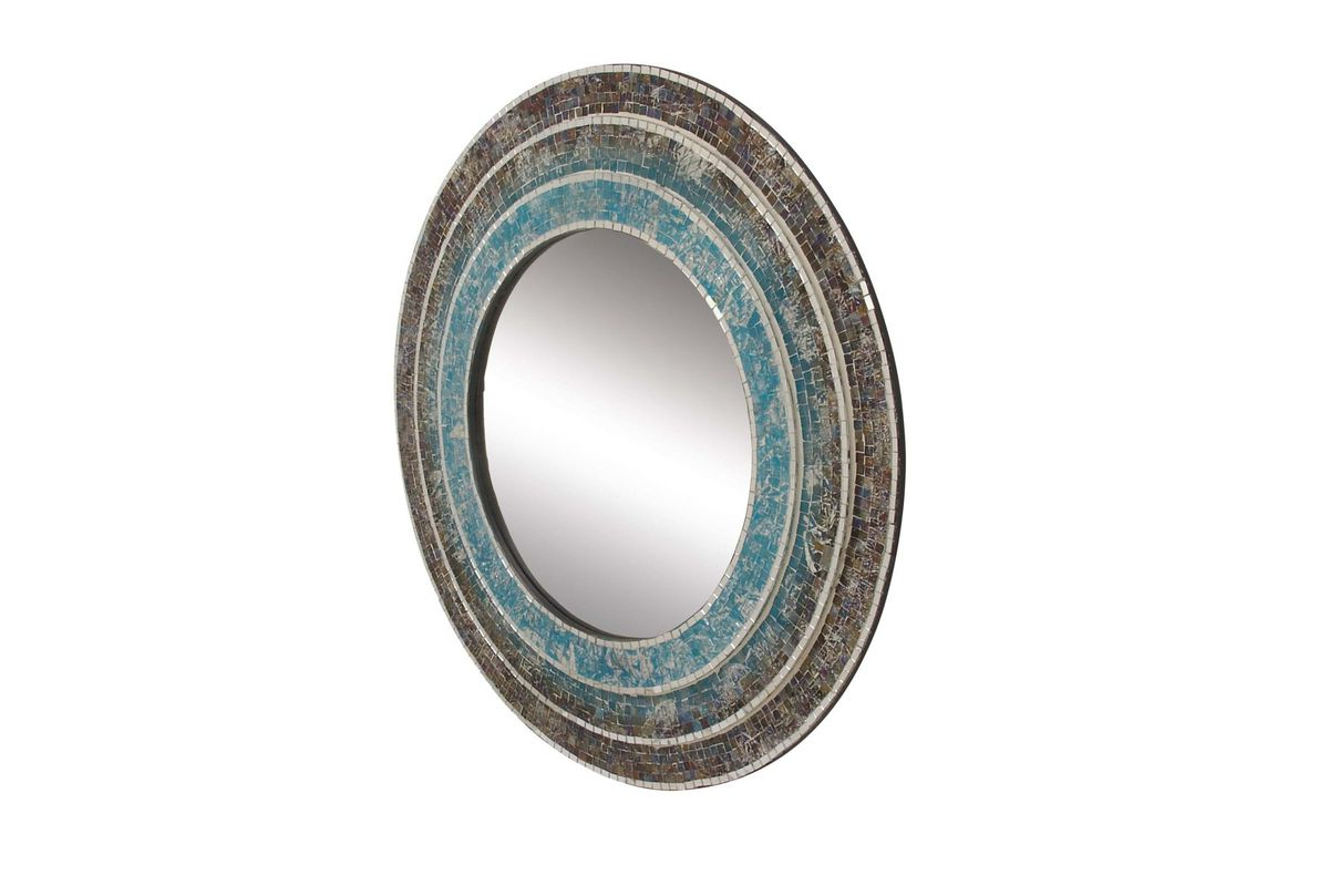"""Round Mosaic Wall Mirrors With Trendy Modern Reflections 30"""" Round Mosaic Wall Mirror In Turquoiseuma (View 20 of 20)"""