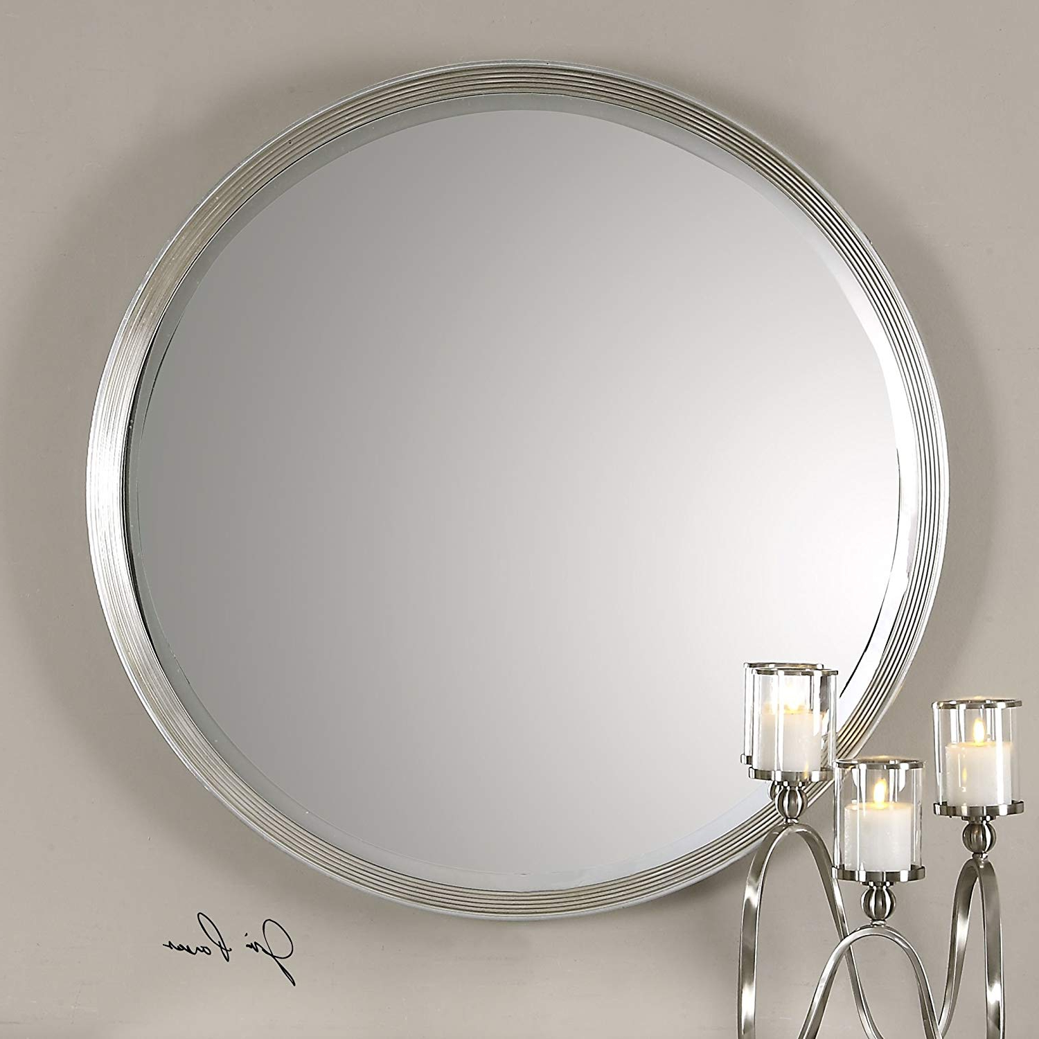 Round Silver Wall Mirrors Pertaining To Trendy Amazon: My Swanky Home Classic Round Silver Wall Mirror (View 13 of 20)