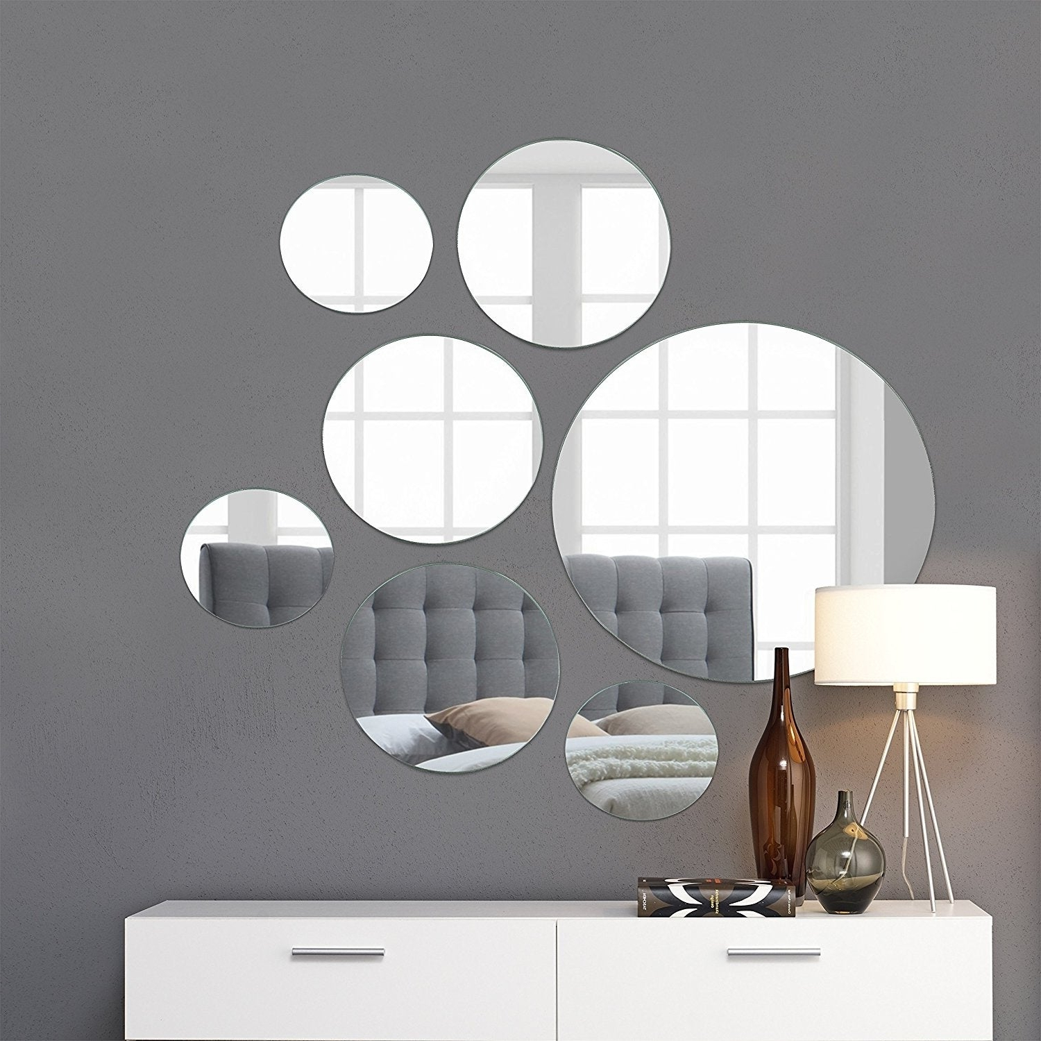 "Round Wall Mirror Mounted Assorted Sizes – Silver – 1 Large 10"" , 3 Medium 7"" , 3 Small 4"" ,set Of 7 Throughout Widely Used Large Round Wall Mirrors (View 11 of 20)"