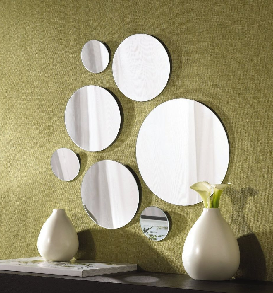 Round Wall Mirror Sets Intended For Preferred New Round Shape Glass Mirror Set, 7 Wall Mount Hanging Art Deco (View 3 of 20)