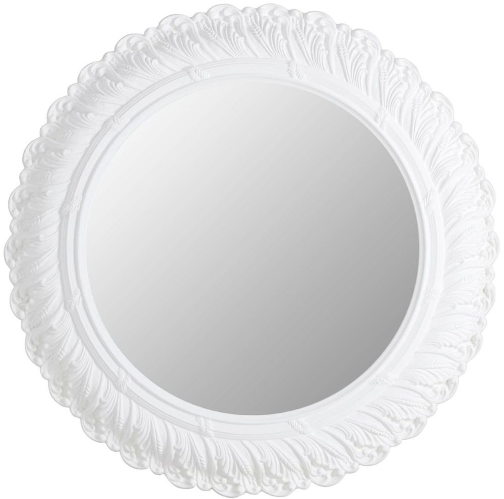Round White Wall Mirrors With 2019 Acanthus Leaf Antique White Round Wall Mirror – 62cm X 62cm (View 4 of 20)