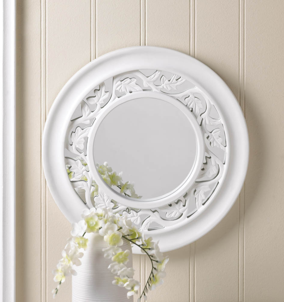 Round White Wall Mirrors With Regard To Trendy Antique White Wall Mirror, Ornate Wall Mirror Elegant White Ivy Wall Mirror (Gallery 14 of 20)
