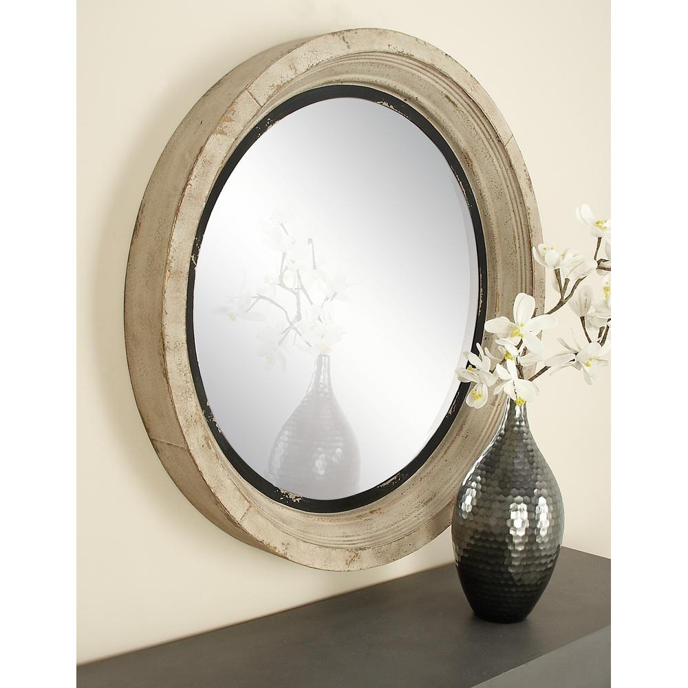 Round Wood Wall Mirrors Throughout Most Up To Date Round Vintage White Wall Mirror (View 18 of 20)