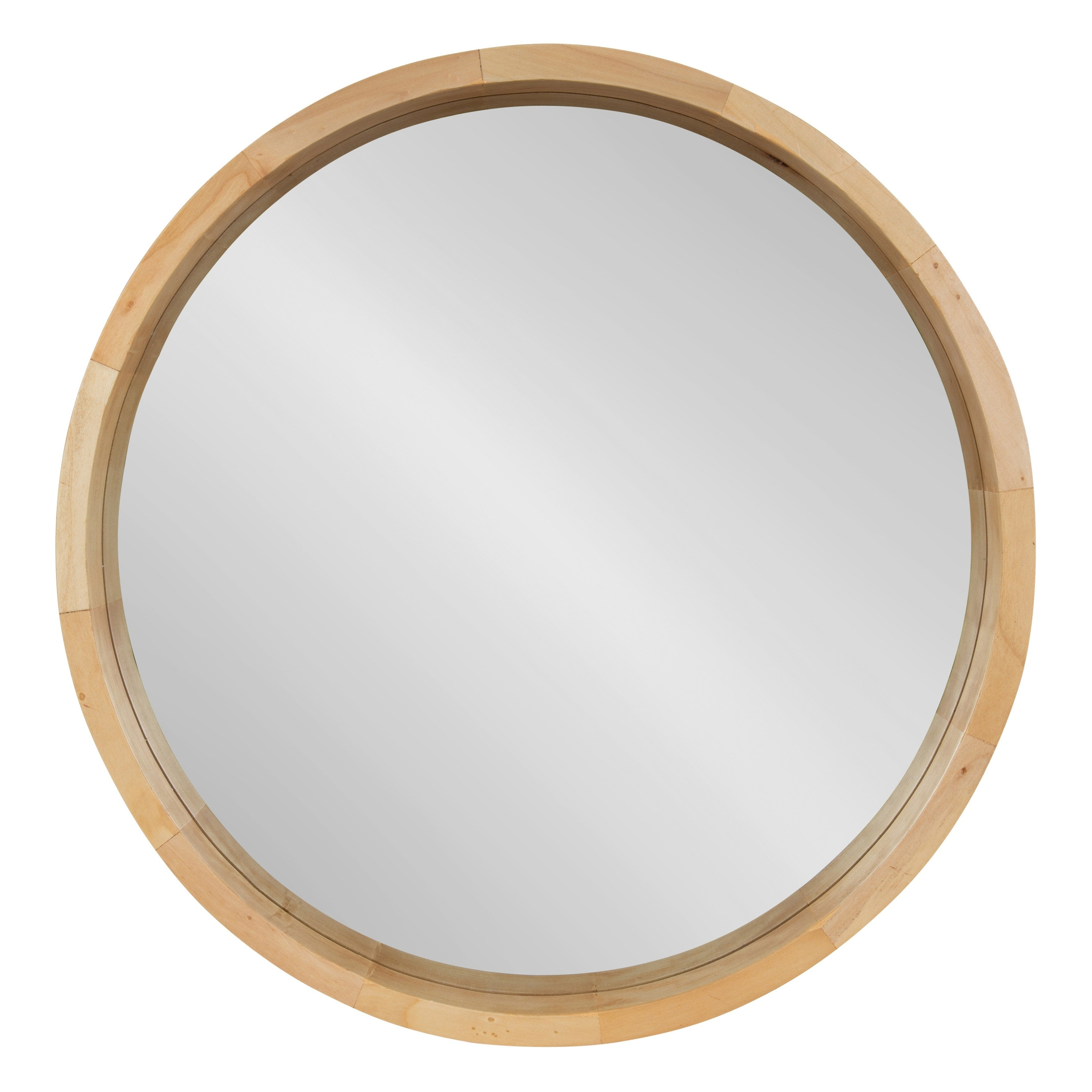 "Round Wood Wall Mirrors With Latest Kate And Laurel Hutton Round Wood Wall Mirror – 22"" Diameter (View 12 of 20)"