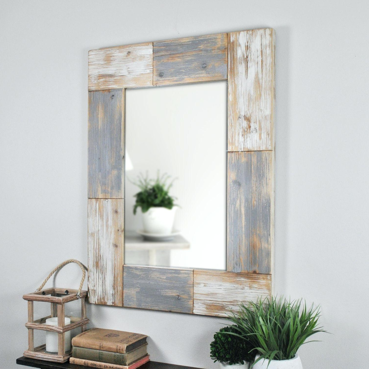 Rustic Gray Wall Mirror Mason Planks Aged White Pier 1 A Leftward Within Most Popular Pier One Wall Mirrors (View 16 of 20)