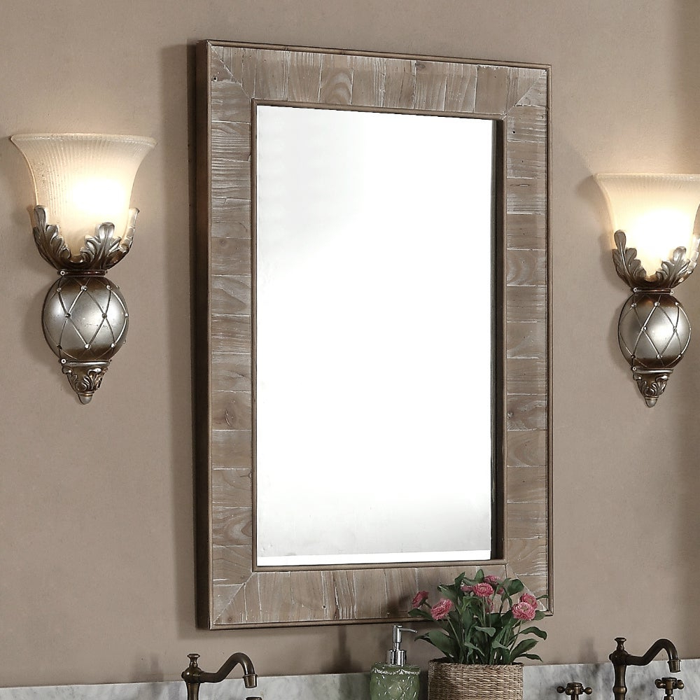 Rustic Style 26 Inch Wide Rectangular Wall Mirror – Brown – A/n Pertaining To Most Recently Released Beautiful Wall Mirrors (Gallery 10 of 20)