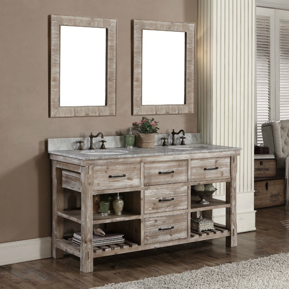 Rustic Style 60 Inch Double Sink Bathroom Vanity And Matching Wall Mirrors In 2020 Bathroom Vanity Wall Mirrors (View 18 of 20)
