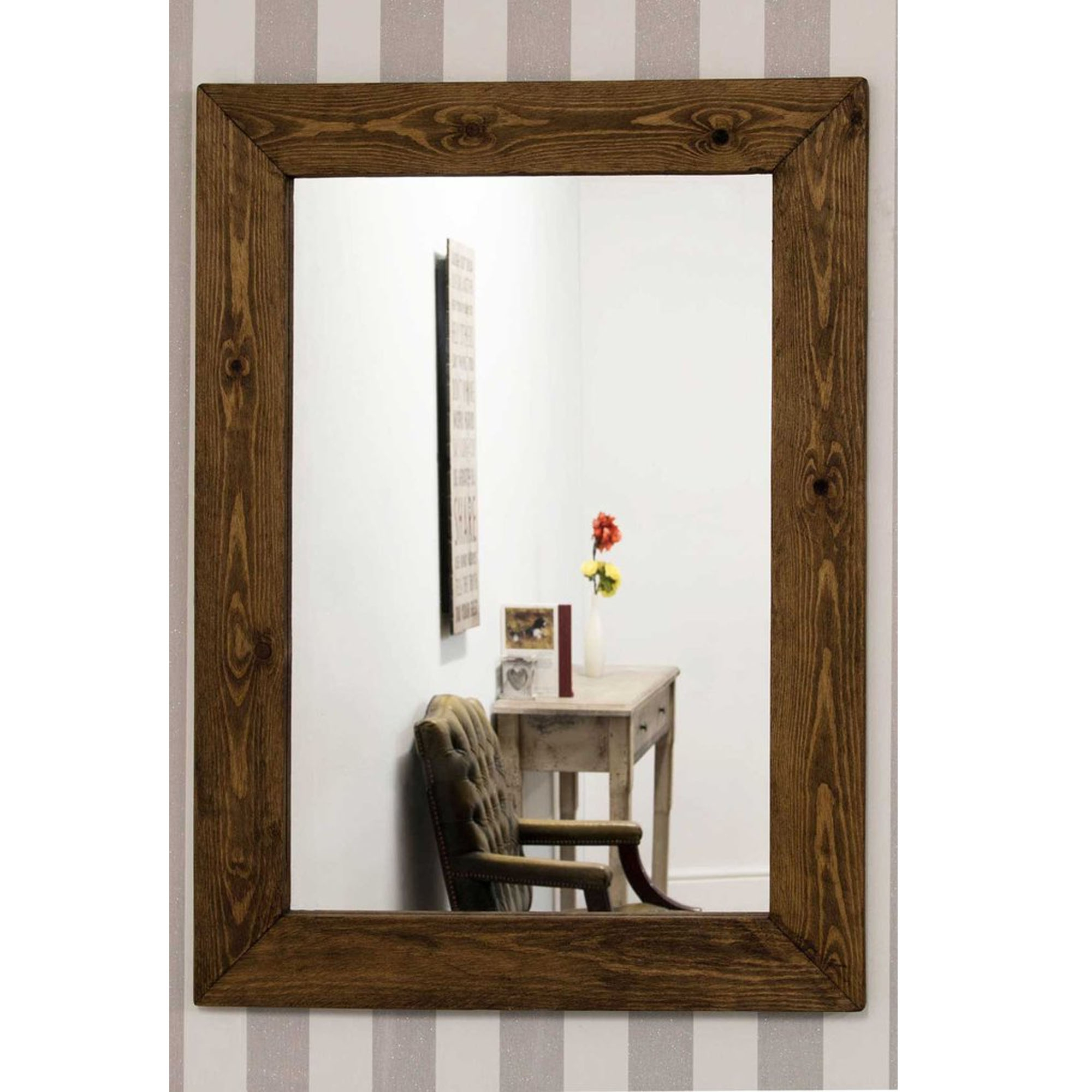 Rustic Wall Mirrors Regarding Well Known Small Rustic Country House Rectangular Wall Mirror (View 14 of 20)