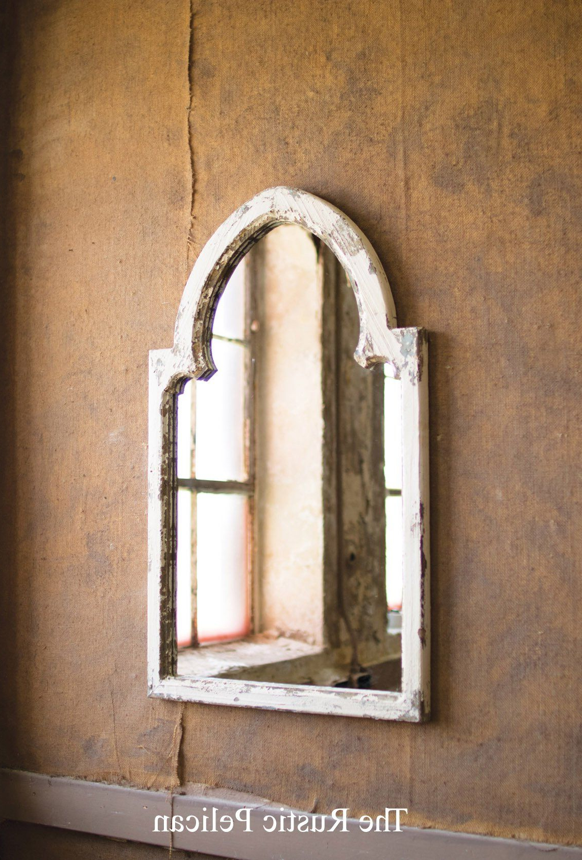 Rustic Wall Mirrors With Regard To Preferred White Wood Framed Mirror With Gold Accent In (View 19 of 20)