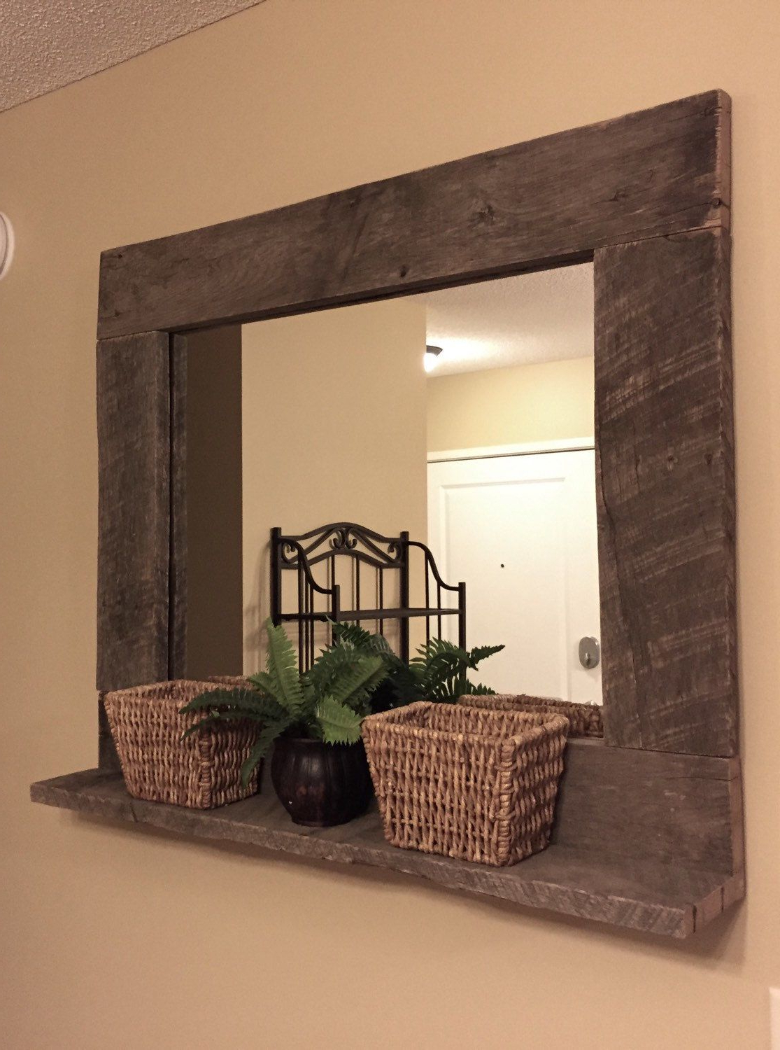 Rustic Wood Mirror Pallet Furniture Rustic Home Decor Large Wall With Regard To Most Popular Large Rustic Wall Mirrors (View 7 of 20)