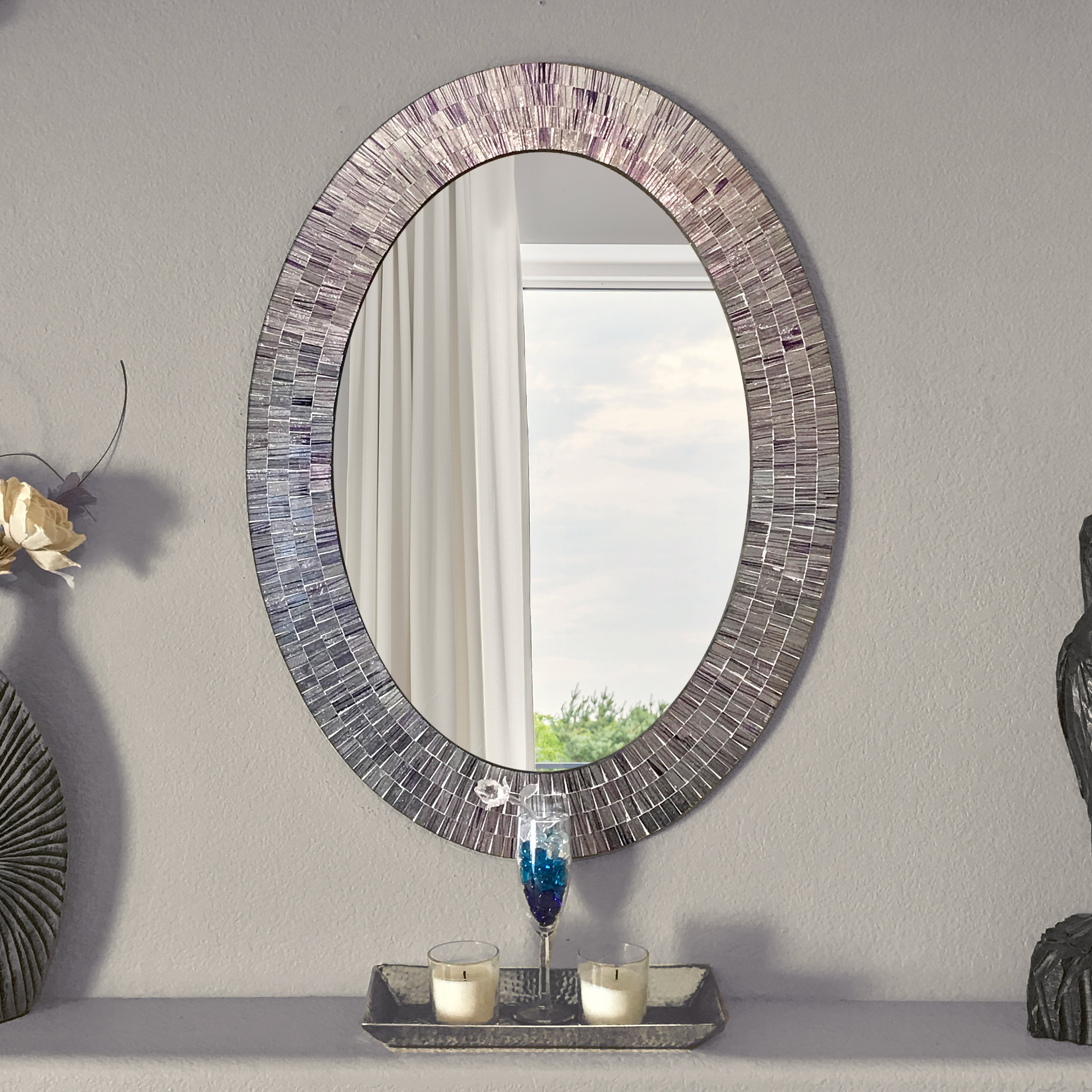 Sajish Oval Crystal Wall Mirrors With Regard To Fashionable Mckim Wall Mounted Mirror (View 10 of 20)