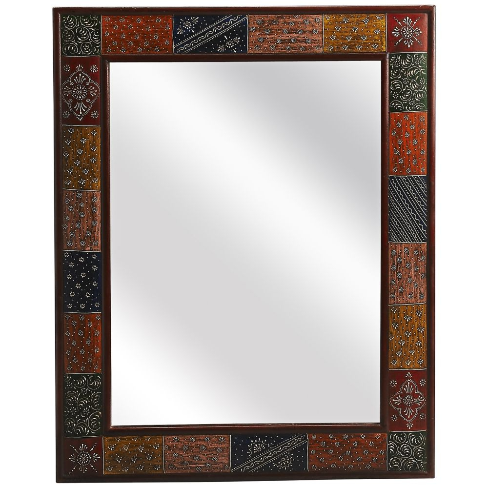 """Santi Hand Painted 24"""" X 30 1/2"""" Wall Mirror – Style # 6x703 Intended For Widely Used Hand Painted Wall Mirrors (View 9 of 20)"""