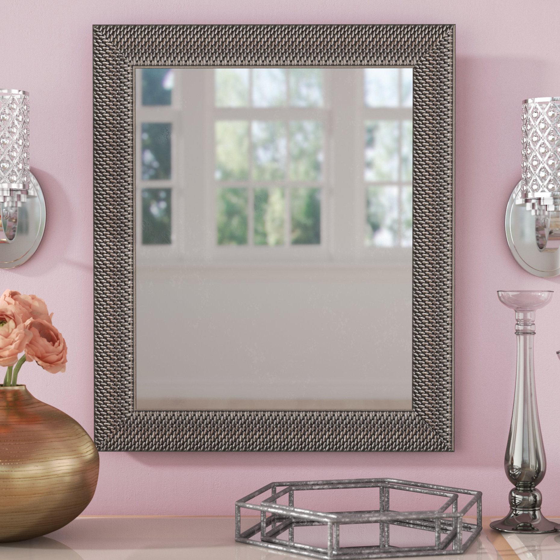 Seamus Silver Woven Beveled Accent Mirror Within Favorite Eriq Framed Wall Mirrors (View 20 of 20)